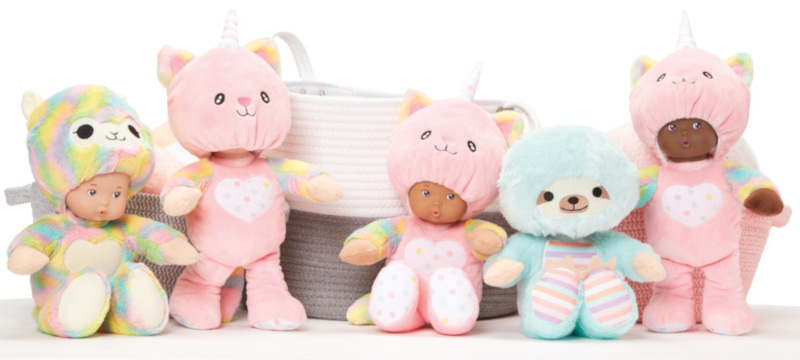 The new Peekaboos line of plush dolls have hoods that can be pulled up or down to play peek-a-boo. Choose Llama, Uni Cat, or Sloth.