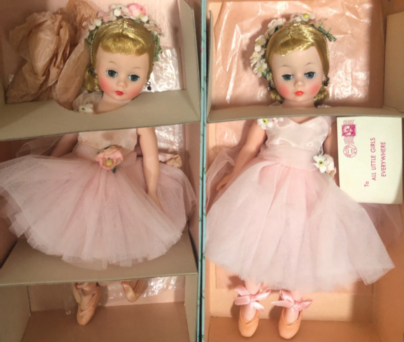 Two Cissette dolls in pink ballet outfits
