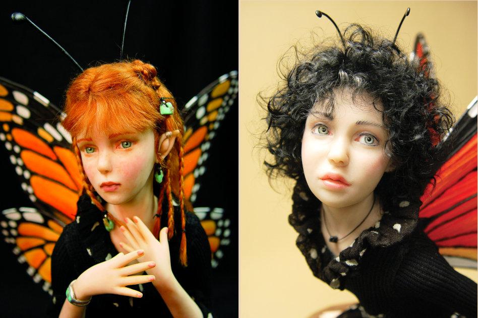 Dora (left) and Dana, two of Zalme's monarch butterfly fairies.