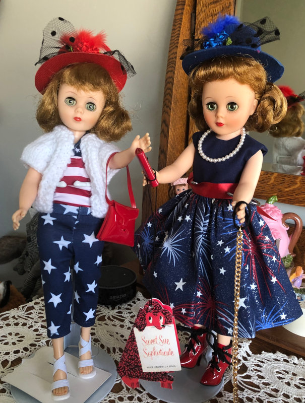 Ellen Irion: My 14-inch Sweet Sue childhood dolls get ready for a Fourth of July family celebration!