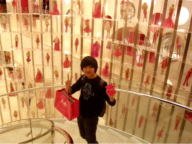 Huadong in Shanghai's Barbie Store in 2009 (photo taken by the artist's father).