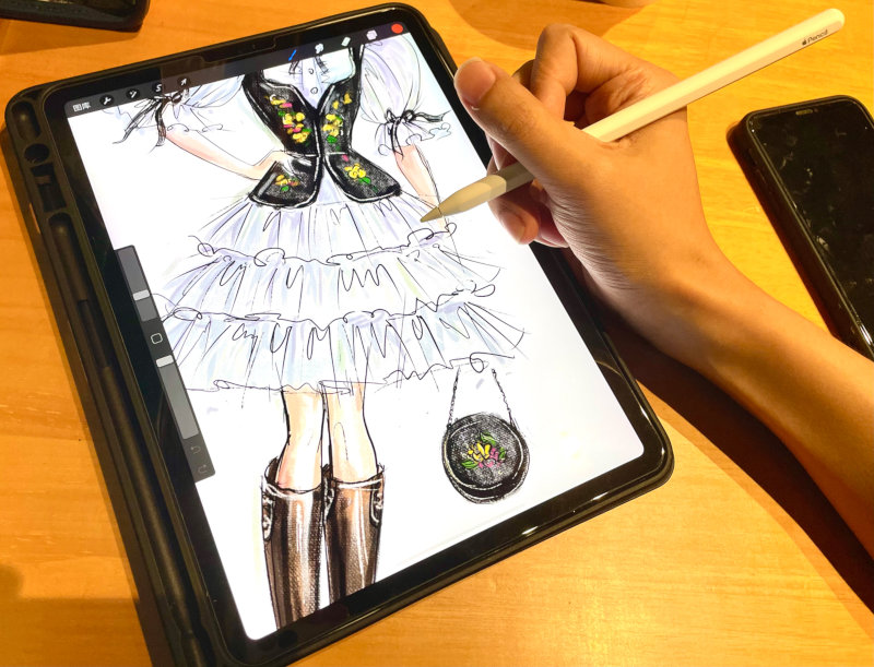 Huadong said he usually starts a new design with a sketch.