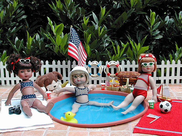 Janis Kiker: Ann Estelle, Georgia, and Sophie by Tonner enjoy a backyard pool party to celebrate the 4th of July!