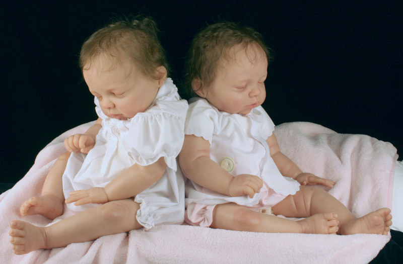 Moulton's twin dolls Avery were cast in silicone by Angie Lewes.