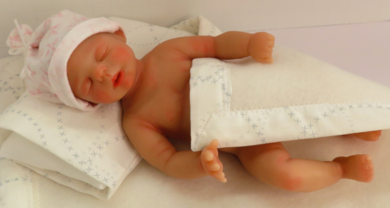Hazel, shown here in resin form, is the first of Moulton's babies that she will cast in silicone herself.