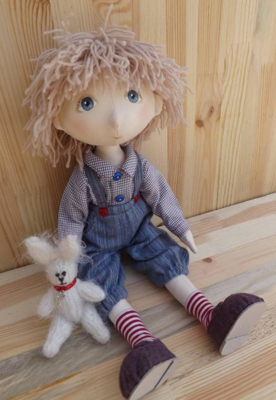 One of the artist's early, larger fabric dolls.