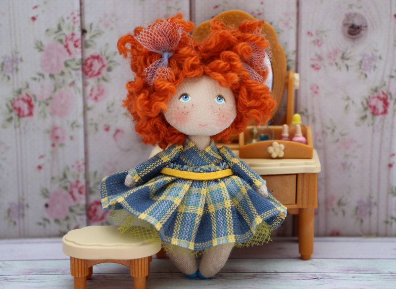 Moppet Doll in front of vanity