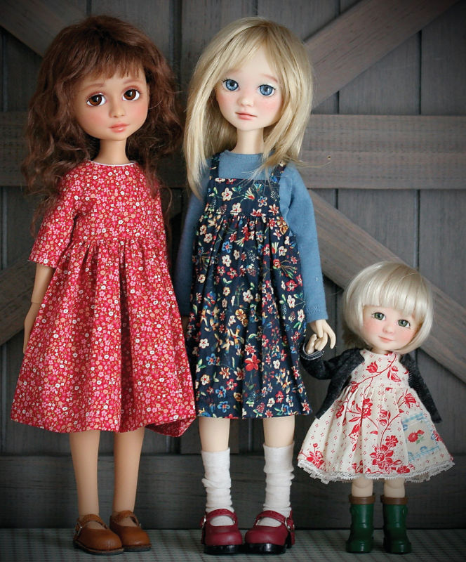 Forever Virginia's Sweethearts stand at 13 inches compared to the Charm line's 7.5 inches. From left: Rose, Juniper, and Bambi.