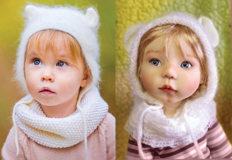 A fan-submitted photo (left) is the inspiration for Meadow Dolls' 21-inch Masha, shown at right with a face-up by Charlene Smith.